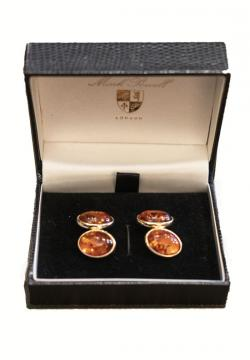 Amber and gold cufflinks
