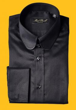Round Tab Collar Shirt Black Herringbone