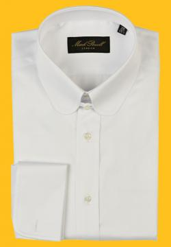 Round Tab Collar Shirt Plain White