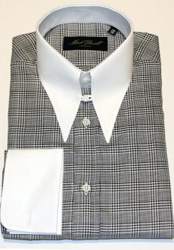 Spear Collar Shirt Black & White Bold Check
