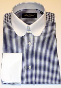 Round Tab Collar Shirt Checked Blue/white