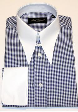 Spear Tab Collar Shirt Bold Check Dark Blue/White