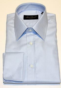 Classic Collar Shirt Blue Herringbone