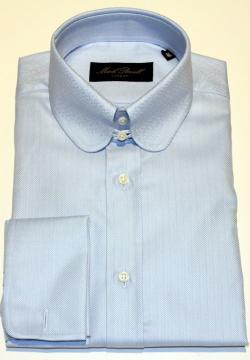 Round Tab Collar Shirt Blue Herringbone