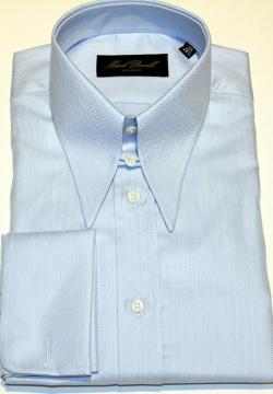 Spear Tab Collar Shirt Blue Herringbone