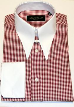 Spear Tab Collar Shirt Red & White Check
