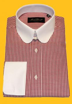 Round Tab Collar Shirt small houndstooth Red/white