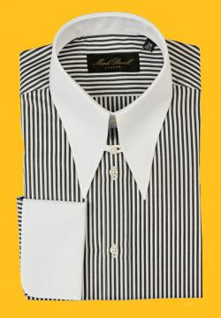 Spear Tab Collar Shirt Stripe Black/White