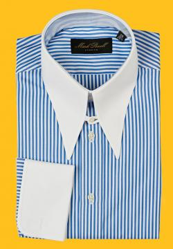 Spear Tab Collar Shirt Stripe Blue/White
